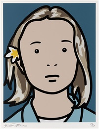 elena, schoolgirl (with lotus blossom) by julian opie