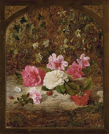 camelias and rhododendrons on a mossy bank by charles archer
