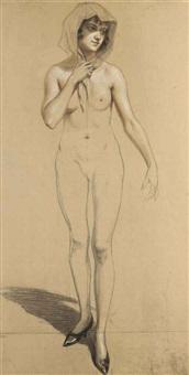 femme nue debout, un foulard sur la tête (in 2 parts) by henry bouvet