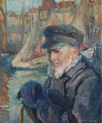 pêcheur au port by georges (ferdinand) lemmers
