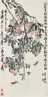 荔枝草虫 (flowers) by chen banding and qi baishi