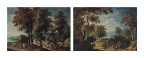 a wooded landscape with figures at rest and a wooded landscape with travelers on a track pair by isaac van oosten