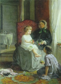 interior med et par piger på besog hos bedstemor by louise-emilie leleux-girard