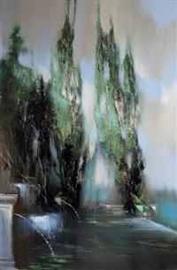 peuplier et bassin by jean arcelin