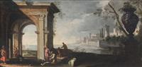 marina con ruderi e astanti by italian school-roman (17)