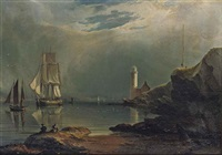 a brigantine lying at anchor off a lighthouse, drying her sails by daniel mackenzie mackenzie