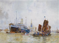 monmouthshire in shanghai harbour by kenneth shoesmith