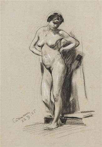 stehender weiblicher akt by hans purrmann