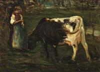 pastorella con mucca by alessandro milesi