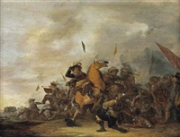 a battle scene with an engagement between cavalry and foot soldiers by abraham van der hoef