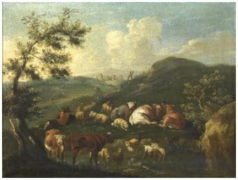 armenti al pascolo con pastore in un paesaggio agreste by dirk van bergen