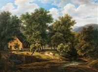 idyllic landscape with watermill by hendrick van assche