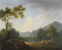 anglers by a river a bridge and village beyond by john rathbone