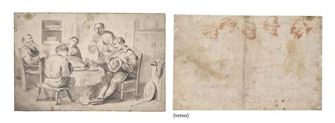 a company around a table five heads sketch verso by egbert van heemskerck the elder
