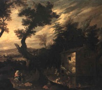 wooded river landscape with the flight into egypt by francisco collantes