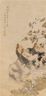 花鸟(三公图) 立轴 设色纸本 by ren yi