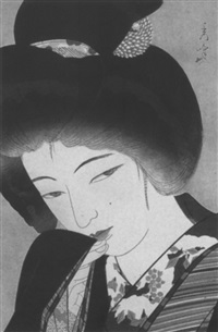 yukimoyoi (blätter unterm schnee auf dem kragen des kimono) by shuho yamakawa