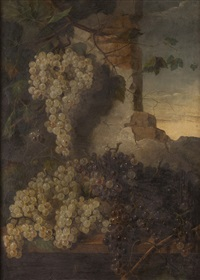 natureza morta com uvas e ruínas by josefa greno