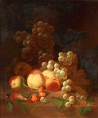 stilleben med frukter, druvor och död fågel by joseph rhodes