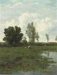 landschap in groningen: cattle grazing by a pond by maria philippina bilders-van bosse