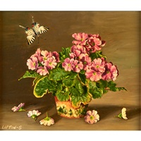 pink primroses; lily of valley (2 works) by sondra lipton