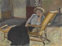 jeune femme assise sur une chaise longue by pierre bonnard