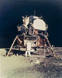 "buzz aldrin at the lunar module ""eagle"", apollo 11, july 1969 by neil armstrong"