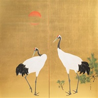 two cranes standing beside young pine saplings by jypo araki