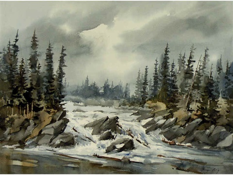 untitled river rapids under grey sky by george alig