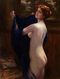 nakenakt med blå slöja by otto theodore gustav lingner