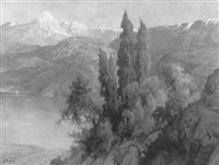 seelandschaft im gebirge by licinio barzanti