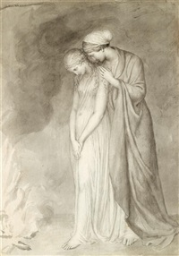 study of two women grieving by john flaxman