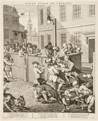four stages of cruelty (4 works) by william hogarth