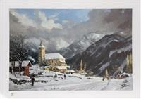 winter chapel by thomas kinkade