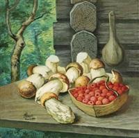 still life with raspberries and mushrooms by genadiy ivanovich dukhanov