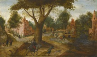 a couple on horseback and a hunter with his dog travelling along a sandy path beneath a large tree, a riverside town and other figures in the distance by abel grimmer