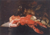 nature morte au homard et au citron by guilliam van deynum