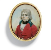 a boy in red coat with royal blue collar by lewis (of bath) vaslet