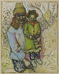 astrakhan hat and flower bonnet (father and daughter) by billy childish