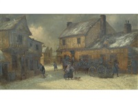 figures in a snowy street scene by thomas smythe