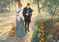 an elegant couple in the park by frederick laurent