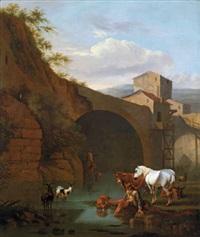 rastende reiter und vieh vor einer brücke in der römischen campagna by jan miel