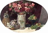 stillleben mit blumen und obst sowie damenfigur by friedrich alois maria antoniacomi