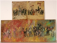 long crowd scenes (pair) by purvis young