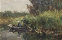 a fisherman in a rowing boat by paul joseph constantin gabriël