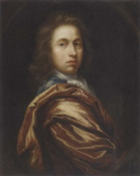 portrait of a gentleman in a blue coat and red robe by john hayls