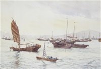 junks in victoria harbour, hong kong by henry george gandy