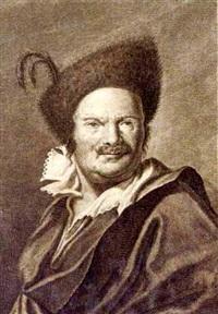 portrait eines herrn mit englisch gestutztem schnurrbart und pelzmütze (collab. w/franz sebastian schaur) by franz lactanz (count) firmian