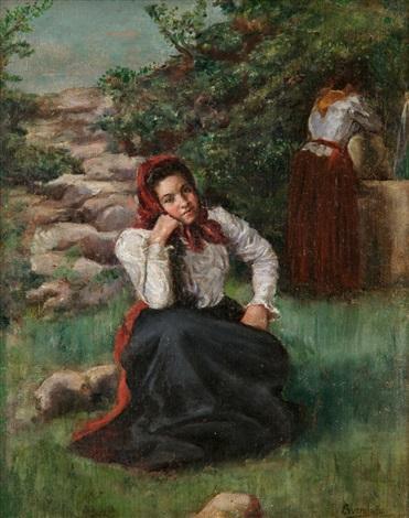 jóvenes en la fuente by serafín avendaño