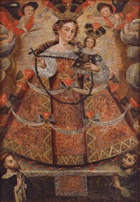 portrait of madonna and child flanked by angel and saints by peruvian school (17)